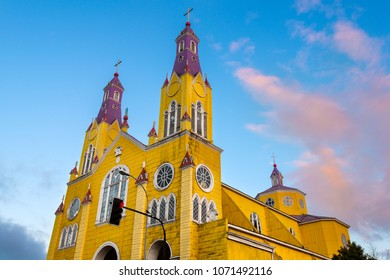 The Church of San Francisco in the main square of Castro at Chiloe Island in Southern Chile.