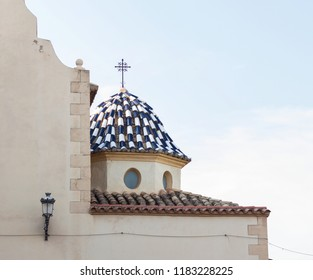 Church of San Miguel, Foia, Castellon, Valencian community. Tower with blue pottery.