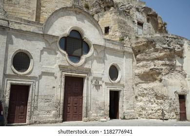 Church of San Pietro Barisano. Old rock church in Matera, Basilicata. Italy