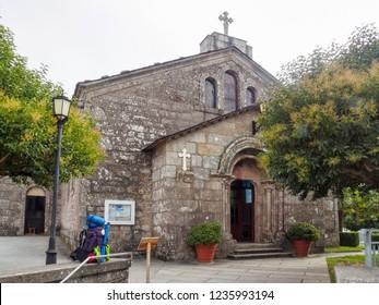 Church of San Tirso with its Romanesque portal - Palas de Rei, Galicia, Spain