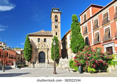 Church of Santa Ana in Plaza Nueva, Granada, Andalusia, Spain.