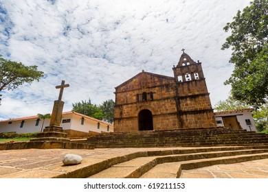 The Church of Santa Barbara in Barichara, Colombia.