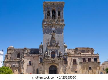 Church of Santa Maria de la Asuncion. White village Arcos de la Frontera, Cadiz, Andalusia, Spain