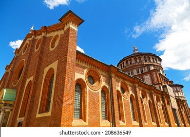 "Church of Santa Maria delle Grazie in Milan, Italy. This church is famous for hosting Leonardo da Vinci masterpiece ""The Last Supper""."