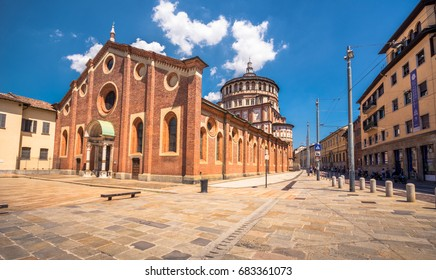 "Church of Santa Maria delle Grazie in Milan, Italy. This church is famous for hosting Leonardo da Vinci masterpiece ""The Last Supper"", on July 03, 2017."
