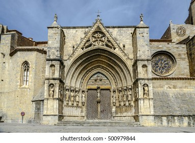 The church Santa Maria la Mayor in Morella, Castellon Spain. Main facade