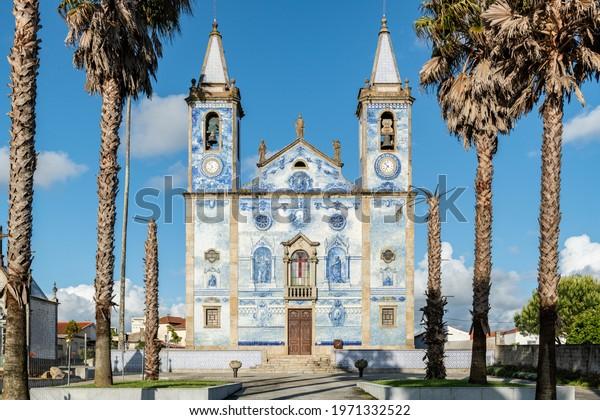 Church Santa Marinha in Cortegaca - Ovar, Portugal. View at the azulejo decoration facade.