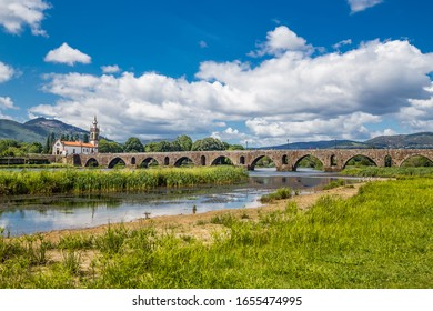 Church Of Santo António Da Torre Velha And Medieval Bridge Crossing River Lima - Ponte De Lima, Alto Minho, Portugal, Europe