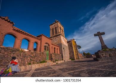 Church of Santo Domingo, district of Chucuito in Puno. February 9, 2011, Puno - Peru.