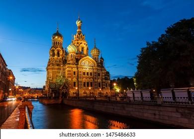 Church of the Savior on Blood at night, Saint-Petersburg, Russia
