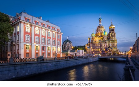 Church of the Savior on Blood, St-Petersburg, Russia - September 11, 2017 : A view from the canal of the Church of the Savior on Blood