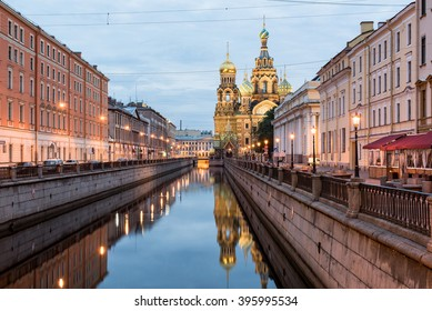 Church Of Savior On Spilled Blood At Night, St. Petersburg, Russia