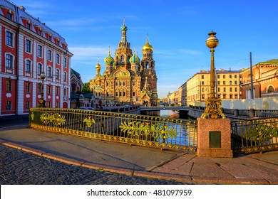 The Church of the Savior on Spilled Blood on Griboyedov canal in the early morning light, St. Petersburg, Russia.