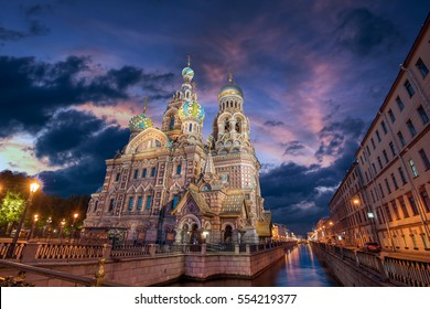 The Church of the Savior on Spilled Blood in St. Petersburg during the White Nights, Russia