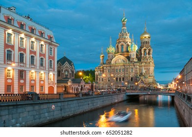 The Church of the Savior on Spilled Blood is one of the main sights of St. Petersburg, Russia. The White Nightes
