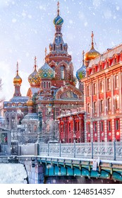 Church of the Saviour on Spilled Blood in St. Petersburg in a cold winter morning