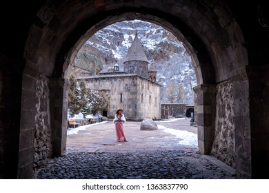 Church in snow season,Armenia