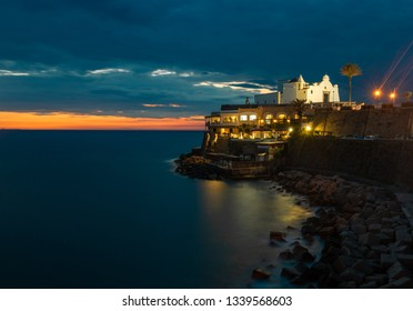 Church of Soccorso at sunset. Italy, Ischia. Copy space