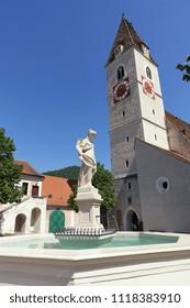 church square Spitz at the Danube, Wachau, Austria