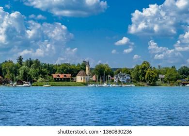 Church St. Alban Diessen, Lake Ammer, Ammersee, Fuenfseenland, Upper Bavaria, Bavaria, Germany, Europe