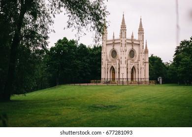 Church of St. Alexander Nevsky in the park Alexandria. Gothic. Peterhof. St. Petersburg. Russia.