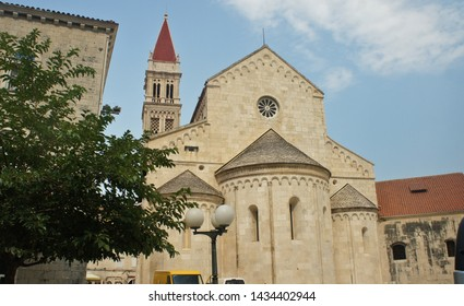 The Church of St. Barbara and The Bell Tower of St. Lawrence Cathedral. beautiful architecture in old town, sunny day, Trogir, Dalmatia, Croatia