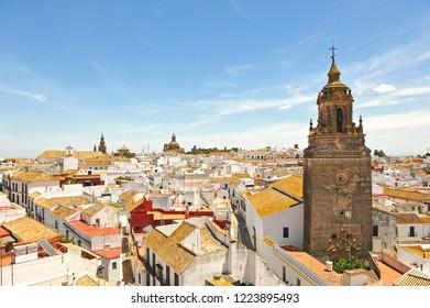 Church of St. Bartholomew (San Bartolomé) and cityscape of Carmona, province of Seville, Andalusia, Spain