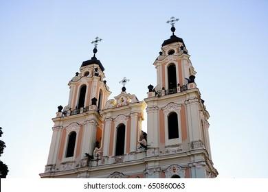 Church of St. Catherine in Vilnius, autumn time.