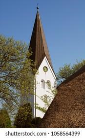 The church of St. Clement , Nebel, Amrum island, Germany. Amrum's largest village, Nebel, is located near the eastern coastline