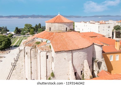 Church of st. Donat, a historic monument from the 9th century in Zadar, Croatia shot from the elevated position