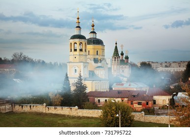 Church of St. Elijah Prophet and church of Holy Trinity at Red (Cathedral) mountain in Serpukhov. Moscow oblast. Russia