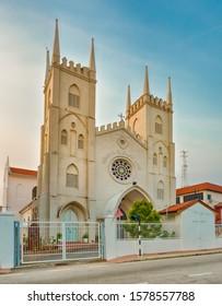 Church of St Francis Xavier at sunrise time. Melaka, Malaysia