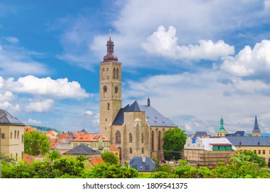 The Church of St James catholic church building with clock tower close-up in Kutna Hora historical Town Centre, Central Bohemian Region, Czech Republic - Shutterstock ID 1809541375