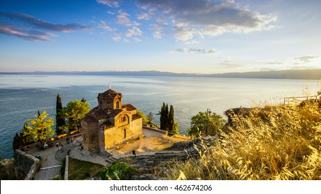Church of St Johan at Kaneo on the Lake Ohrid in Macedonia during sunset