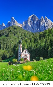Church St. Johann in Ranui, Villnoess valley, South Tyrol, Italy