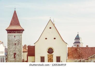 Church of St. John the Baptist, Znojmo, southern Moravia, Czech republic. Religious architecture. Travel destination. Yellow photo filter.