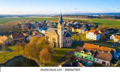 Church of st. Joseph in small village Uherce in Western Bohemia. Amazing destination in Czech Republic, Central Europe. - Shutterstock ID 1884667603