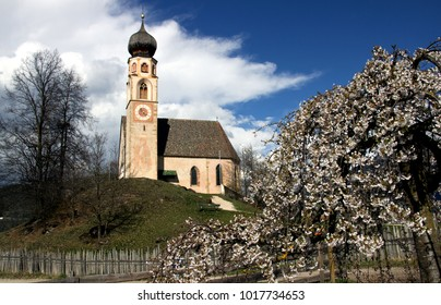 Church of St Konstantin near Völs am Schlern, South Tirol, Italy in early springtime