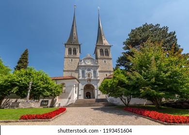 The Church of St. Leodegar (Hofkirche St. Leodegar) Roman Catholic church in the city of Lucerne, Switzerland.
