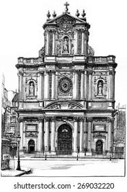 Church of St. Louis-Saint-Paul, vintage engraved illustration. Paris - Auguste VITU  1890.