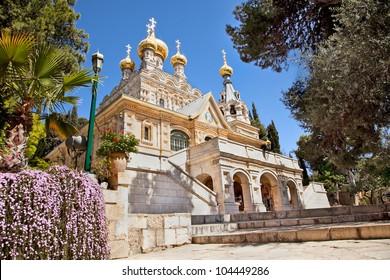 Church of St. Mary Magdalene at Olives Mount of Jerusalem, Israel