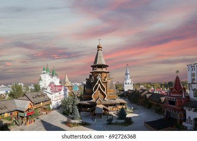 Church of St. Nicholas in Izmailovsky Kremlin (Kremlin in Izmailovo), Moscow, Russia-- panorama. The new church, built in the traditions of Russian wooden architecture