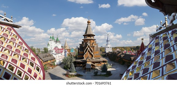 Church of St. Nicholas in Izmailovsky Kremlin (Kremlin in Izmailovo), Moscow, Russia. The new church, built in the traditions of Russian wooden architecture