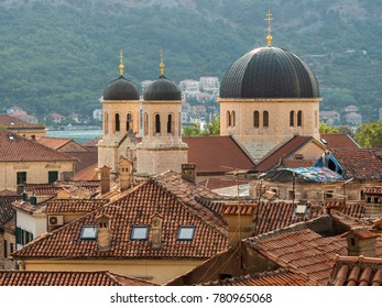 Church of St. Nicholas with mountains and sea on the background. Kotor, Montenegro.