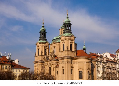 The Church Of St. Nicholas on the Old Town square in Prague, Czech Republic