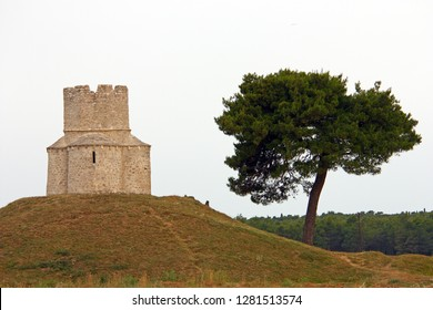 Church of St. Nicholas is a Pre-Romanesque style Roman Catholic church built in form of a fortress from the beginning of the 12th century, Nin, Croatia