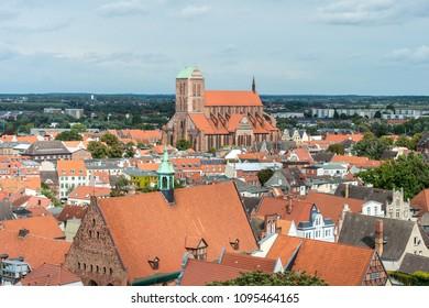The Church St. Nicholas of Wismar (Nikolaikirche), one of the finest testaments to mediaeval brick architecture in Wismar, Nordwestmecklenburg district, Mecklenburg-Vorpommern state, northern Germany.