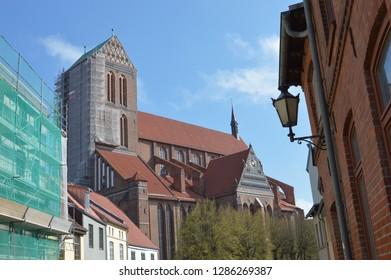 church st. nikolei in Wismar. Mecklenburg Western Pomerania, Germany, april-30-2017