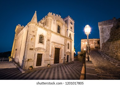 Church of St. Nocolo at night in Savoca, Sicily, Italy. The place where Godfather movie were filmed.