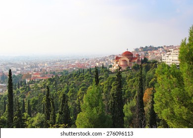 Church of St. Pavlo (Agios Pavlos) and aerial view of Thessaloniki, Greece